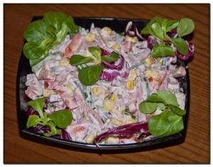 Салат с овощами и ветчиной «Радуга»