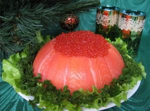 Салат-желе с рыбой и крабовыми палочками