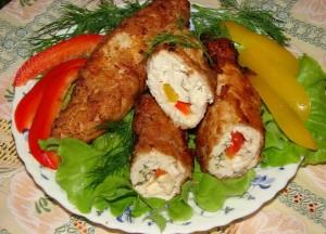 Рулетики из курицы с копчёным сыром