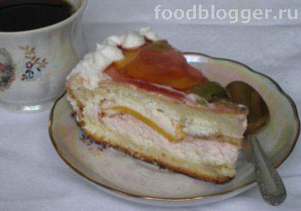 Бисквит с творогом и фруктами - 5