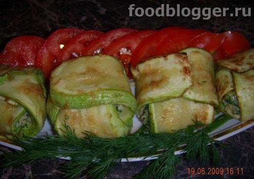 Кабачки с плавленным сыром и зеленью