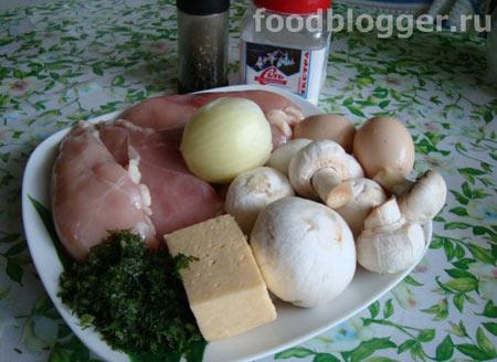 Куриное филе с сыром и грибами - 1